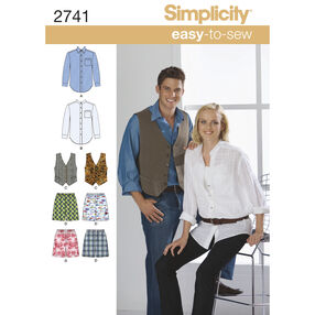 Simplicity Pattern 2741 Misses'/Men's Shirts, Vest and Boxer Shorts