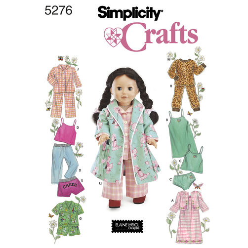 "Simplicity Pattern 5276 for 18"" Doll Clothes"