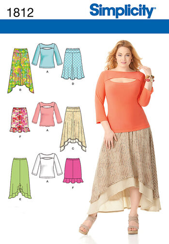 Misses' & Plus Size Skirts and Knit Top