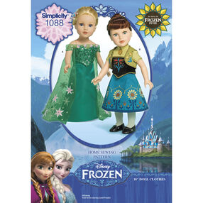"Simplicity Pattern 1088 Disney Frozen Fever 18"" Doll Clothes"