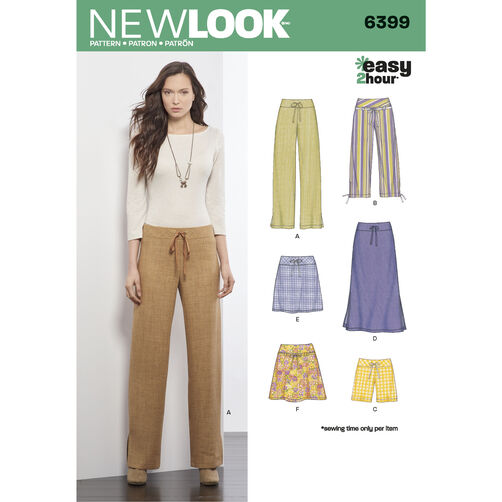 New Look Pattern 6399 Misses' Easy Bottoms