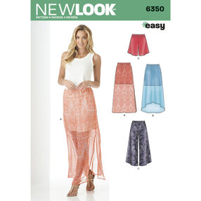 New Look Pattern 6350 Misses' Skirt and Wide Leg Cropped Pants or Shorts