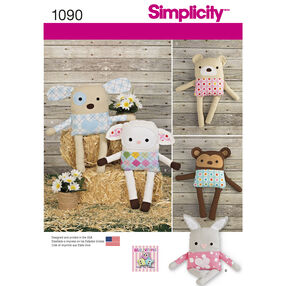 Simplicity Pattern 1090 Stuffed Animals with Clothes