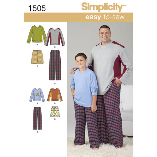 Simplicity Pattern 1505 Husky Boys' & Big & Tall Men's Tops and Pants