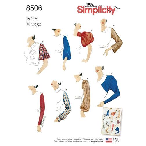 Simplicity Pattern 8506 Misses' Vintage Set of Sleeves