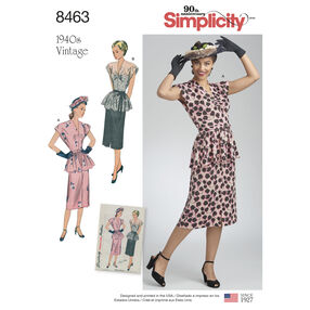Simplicity Pattern 8463 Misses' Vintage 2-Piece Dress