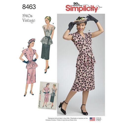 Simplicity Pattern 8463 Misses' Vintage 2-Piece Dress
