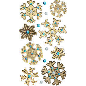 Wooden Snowflake Stickers_50-50517