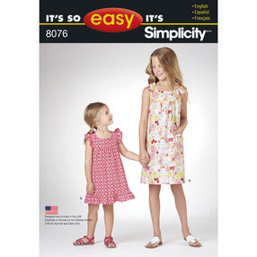 It's So Easy Pattern 8076 Dresses for Child and Girl