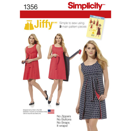 Simplicity Pattern 1356 Misses' Vintage Jiffy Reversible Wrap Dress