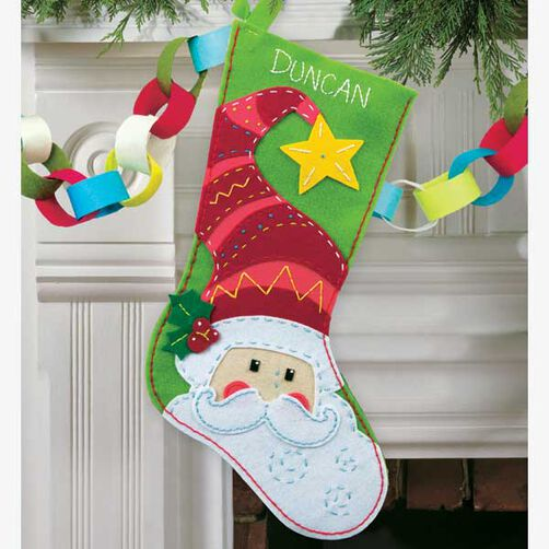 Santa Stocking in Felt Applique_72-08186