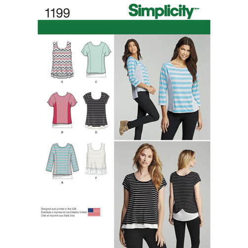 Simplicity Pattern 1199 Knit Tops for Misses and Plus Sizes