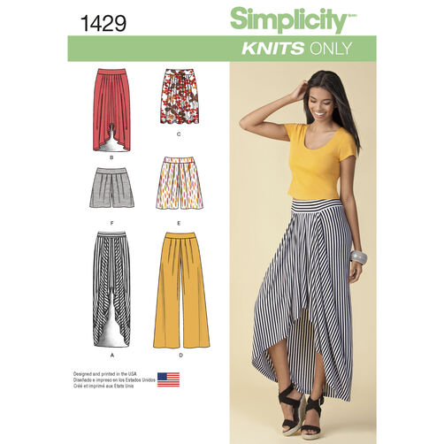 Simplicity Pattern 1429 Misses' Pull on Knit Skirt, Pants & Shorts