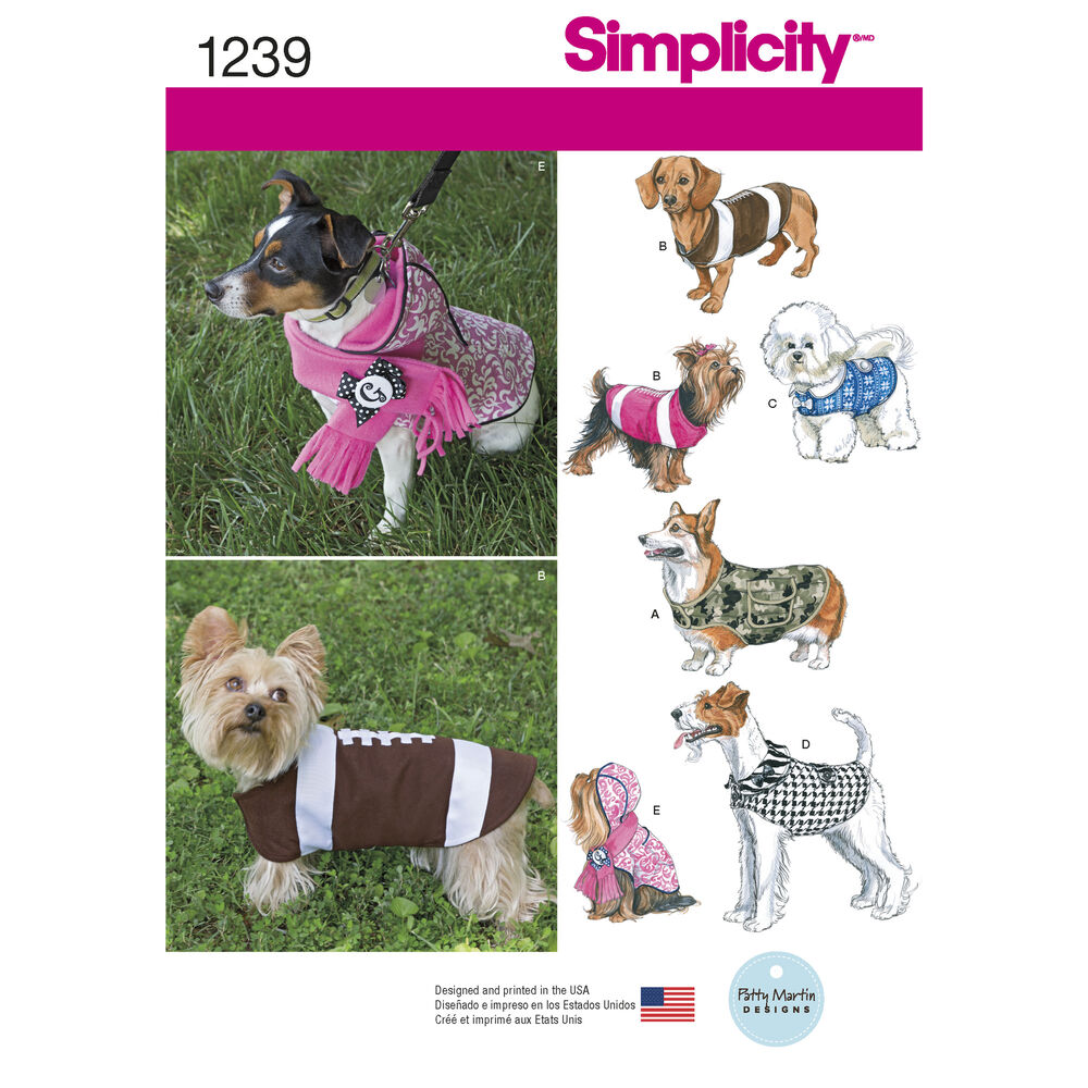 Pattern for Dog Coats in Three Sizes | Simplicity