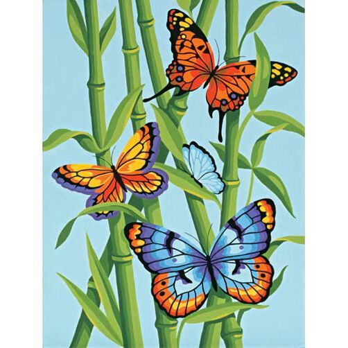 Butterflies and Bamboo, Paint by Number_91258