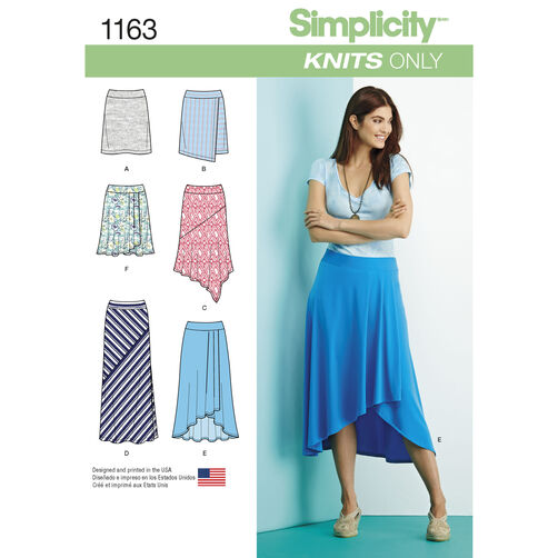Simplicity Pattern 1163 Misses' Knit Skirts with Length Variations