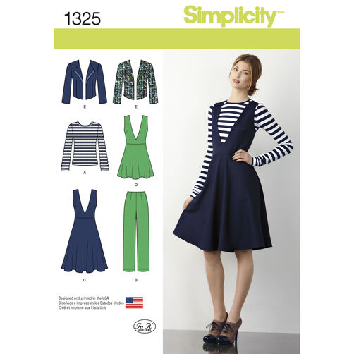 Simplicity Pattern 1325 Misses' Pants, Jumper or Tunic, Jacket & Top