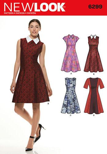 Misses' Dress with Neckline & Sleeve Variations <br>