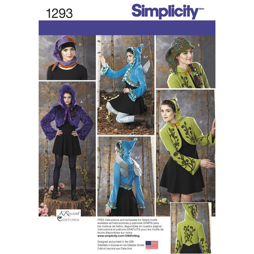 Simplicity Pattern 1293 Misses' Costume Jackets, Wings and Hat