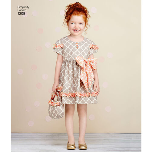 Pattern For Child S Dresses Purses And Headband Simplicity
