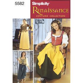 Simplicity Pattern 5582 Misses' Renaissance  Costumes