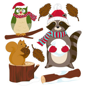 Woodland Critters with Santa Gear Stickers_50-21007