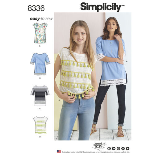 Simplicity Pattern 8336 Misses' Knit Tops with Length and Trim Variations
