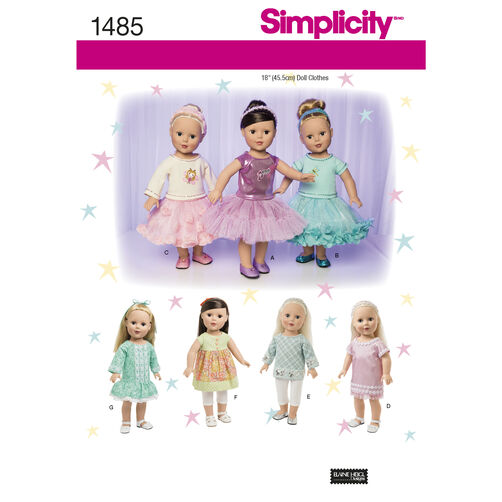 "Simplicity Pattern 1485 18"" Doll Clothes with Trim Variations"