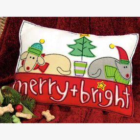 Merry & Bright Pillow in Felt Applique_72-08194