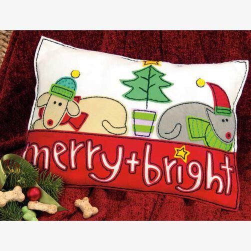 Merry & Bright Pillow in Felt Applique_72-08194