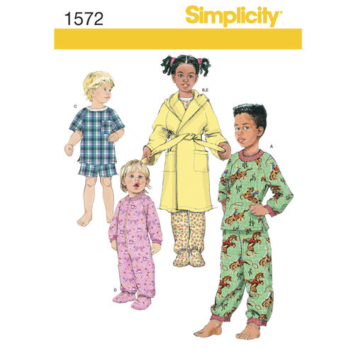 Simplicity Pattern 1572 Toddlers' and Child's Sleepwear and Robe