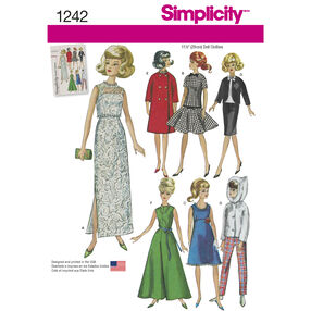 "Simplicity Pattern 1242 Vintage Doll Clothes for 11-1/2"" Doll"