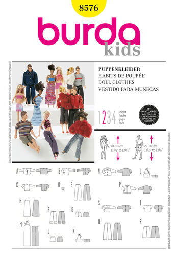 Burda Style Pattern 8576 Doll Clothes