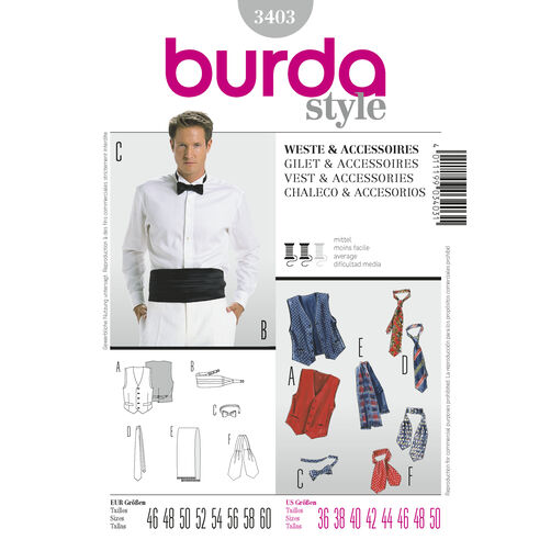 Burda Style Pattern 3403 Vest & Accessories