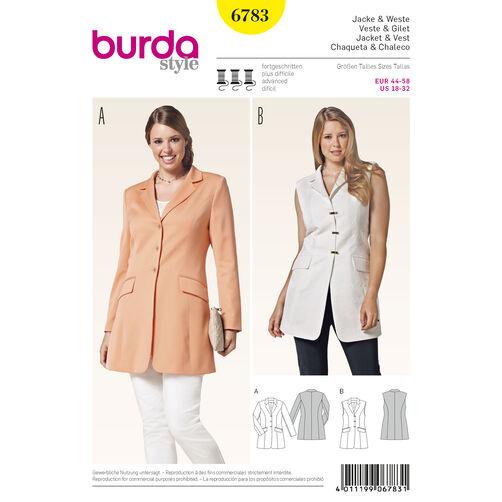 Burda Style Pattern 6783 Jackets, Coats, Vests