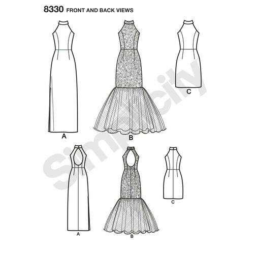 Simplicity Pattern 8330 Misses Dress With Skirt And Back