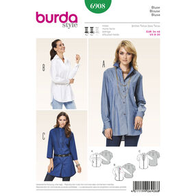 Burda Style Pattern 6908 Tops, Shirts, Blouses