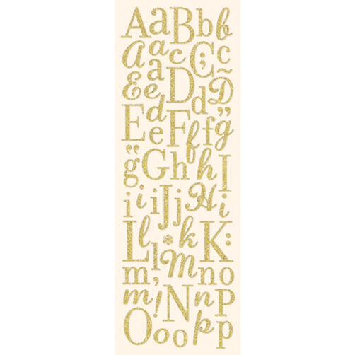 Light Gold Die-Cut Glitter Alphabet Stickers_567054