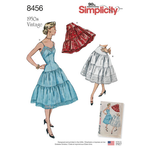 Simplicity Pattern 8456 Misses' Vintage Petticoat and Slip