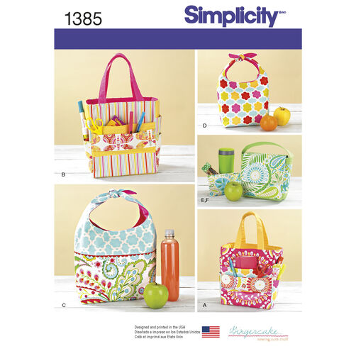 Simplicity Pattern 1385 Art Caddies, Lunch Bags and Snack Bag