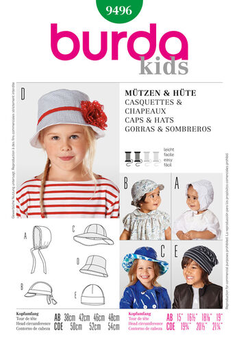 Burda Style Pattern 9496 Caps & Hats