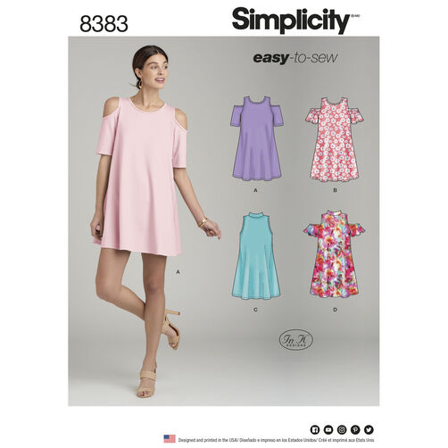 Simplicity Pattern 8383 Misses' Knit Trapeze Dress with Neckline and Sleeve Variations
