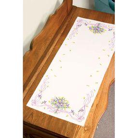 Violets Nosegay Dresser Scarf, Embroidery_73366
