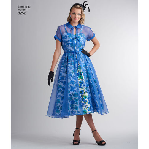 Simplicity Pattern 8252 Misses 1950s Dress And Redingote