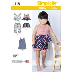 Simplicity Pattern 1118 Toddlers' Dress, Top and Cropped Pants or Shorts