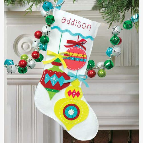 Bright Ornaments Stocking in Felt Applique_72-08188