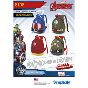 Simplicity Pattern 8108 Avengers Assemble Backpacks