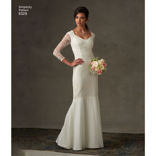 Wedding Gown Patterns With Sleeves: Simplicity Pattern 8329 Misses' Dress With Fabric And