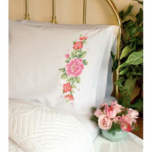Pink Rose Pillow Cases, Stamped Cross Stitch_73199