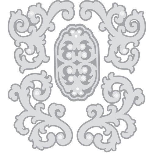 Silver Felt Flourish Stickers_50-21278